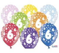 Balony 30cm, 6th Birthday, Metallic Mix, 6szt.
