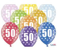 Balony 30cm, 50th Birthday, Metallic Mix, 6szt.