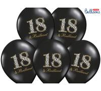 Balony 30cm, 18 & Brilliant, Pastel Black, 50szt.