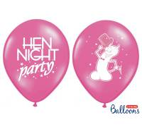 Balony 30cm, Hen night party, P. Hot Pink, 6szt.