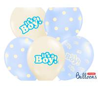 Balony 30cm, It's a Boy, Pastel Mix, 6szt.