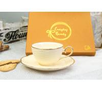 Filiżanka ze spodkiem BASKET Exclusive 250ml Porcelana