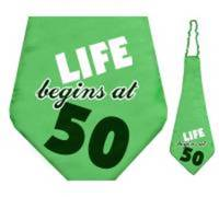 Krawat Life begins at 50. 59cm. 1szt.
