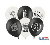 Balony 30cm, Party, P. Black, P.Pure White, 1st