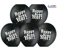Balony 30cm. Happy New Year. M. Black. 1szt.